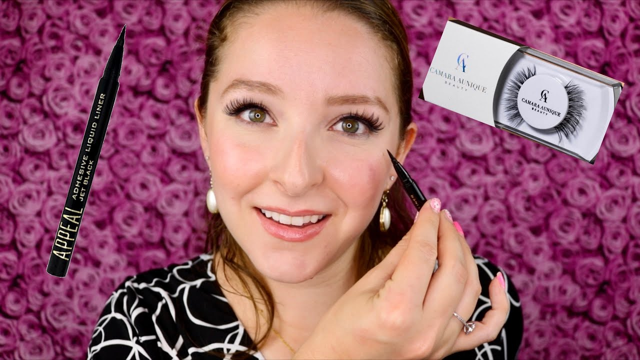 CAMARA AUNIQUE BEAUTY MARY LASHES & APPEAL ADHESIVE LIQUID LINER REVIEW & TUTORIAL